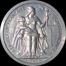 SP64 1949 French Oceania Piedfort ESSAI 2 Francs