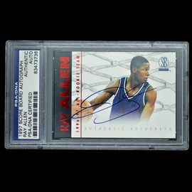 Certified 1997 Score Board Ray Allen Signed Basketball trading card