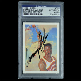 Certified 1990 Hoops #355 Dominique Wilkins Signed Basketball trading card
