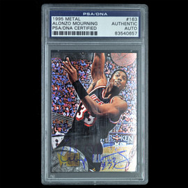 Certified 1995 Metal #163 Alonzo Mourning Signed Basketball trading card