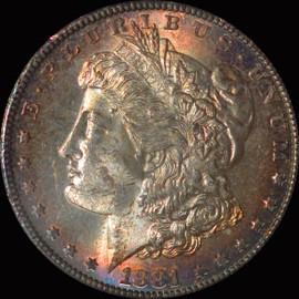MS63 1881-S Morgan Silver Dollar Fantastic toning OBV and REV