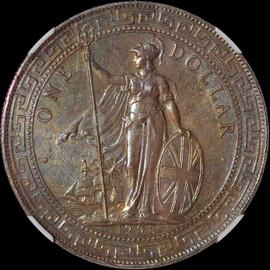 MS62 1908-B British Trade Dollar toned