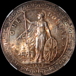 MS61 1907-B Great Britain Trade Dollar Nicely Toned