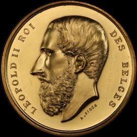 "SP64 1885 Belgium Leopold II gilt-copper Specimen ""Antwerp World's Fair"" Medal"