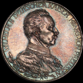 MS62 1913-A Germany Prussia 3 Marks 25th Year J-112 Beautiful Toning