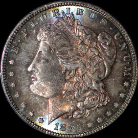 MS65 1885 US Morgan Silver Dollar - Rainbow Toning