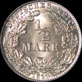 MS66 1918-D Germany Empire 1/2 Half Mark