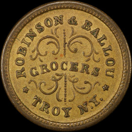 MS62 1863 New York Robinson & Ballou Civil War Token - Q. David Bowers Reference Collection