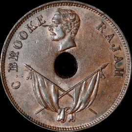 AU55 1893-H Sarawak Charles Brooke 1 Cent
