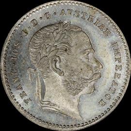 MS66 1868 AUSTRIA Franz Joseph I Silver 20 kreuzer, Highest Graded by PCGS