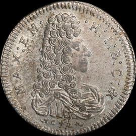 MS61 1693 Germany BAVARIA Maximilian II Emanuel Silver 30 kreuzer - Single Finest