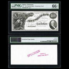MS66 EPQ Fairmount, ME- New England Bank $10 Oct. 1, 1857 G2 Proprietary Proof