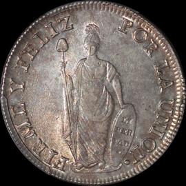 MS62 1831-L MM Peru Silver 8 Reales KM-142.3