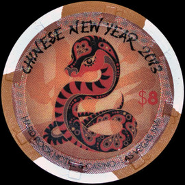 Limited edition 2013 Chinese New Year of the Snake $8 Hard Rock Casino Las Vegas Nevada
