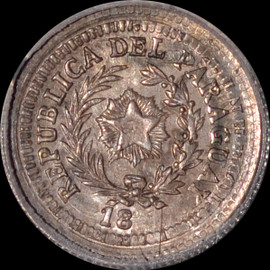 MS64 18xx RARE PARAGUAY 5 CENTS ON ARGENTINA 10C - PATTERN DIE -