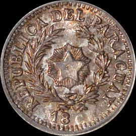 MS65 18xx RARE PARAGUAY 10 CENTS ON ARGENTINA 10C - PATTERN DIE -