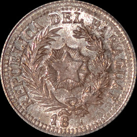 MS65 18xx RARE PARAGUAY 20 CENTS ON ARGENTINA 20C - PATTERN DIE -