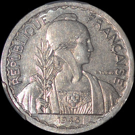 SP62 1945 French Indo China Essai (Pattern) Aluminum 20 Cents