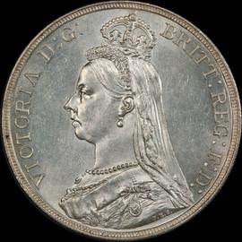 MS62 1887 Great Britain Queen Victoria Silver Crown