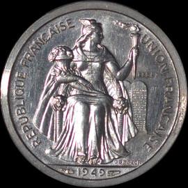 SP64 1949 New Caledonia Piefort Essai 1 Franc (Pattern) Mintage 104 Rare!