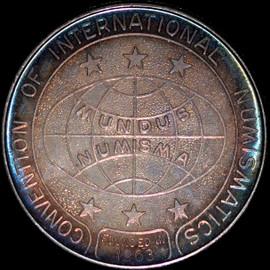 CONVENTION OF INTERNATIONAL NUMISMATICS Silver Medal 1 oz Gem BU VIBRANT RAINBOW
