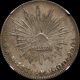 UNC 1839-Go PJ Mexico 4 Reales (Eastcoins Collection)