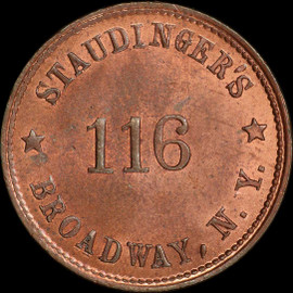 MS65 1863 Staudinger's 116 Broadway New York Copper PE F-630BS-2a