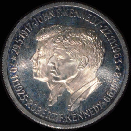 1970s JOHN & ROBERT KENNEDY Portraits 15 Grams Silver Medal  - Nicely toned