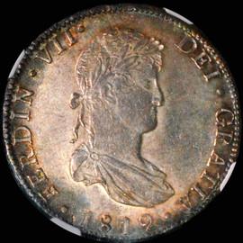 MS62 1819-Mo JJ MEXICO Ferdinand VII. 8 Reales,  Mexico City Mint.