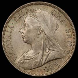 MS62 1901 Great Britain Queen Victoria Silver Half Crown