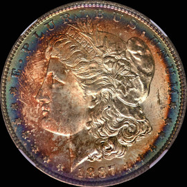 MS65 1887 P Morgan Dollar - Rainbow Toned - Eastcoins Collection