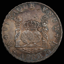 AU 1762-Mo MM MEXICO Charles III Silver 8 Reales,  Mexico City Mint.