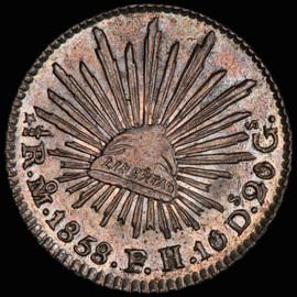 MS63 1858 Mo FH Mexico 1/2 Real