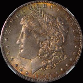 MS63 1900-P Morgan Silver Dollar Fantastic toning OBV and REV