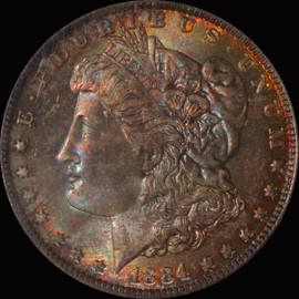 MS65 1884-O Morgan Silver Dollar Fantastic toning OBV and REV