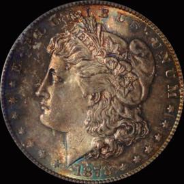 MS64 1878-S Morgan Silver Dollar Fantastic toning OBV and REV