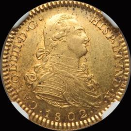 MS61 1802/1 M-FA  Spain Charles IV gold 2 Escudos
