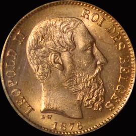 MS65 1876 Belgium Leopold II gold 20 Francs