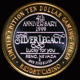 .999 SILVER 1999 SILVER LEGACY $10 GAMING TOKEN - ROUND COIN RENO NAVADA