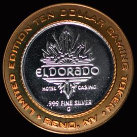 .999 SILVER 2000 ELDORADO CASINO $10 GAMING TOKEN - ROUND COIN RENO NAVADA