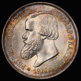PCGS MS63 1869 Brazil Silver 2000 Reis - lone Highest Graded