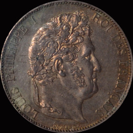 NGC MS62 1847-A  France Louis Philippe I Silver 5 Francs