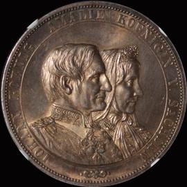 "NGC MS63 1872-B Germany Saxony Johann ""Golden Wedding Anniversary"" 2 Taler"