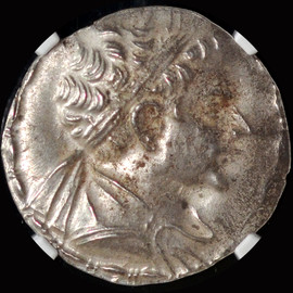 NGC MS 4/5 - 3/5  (ca. 145-140 BC) BACTRIAN KINGDOM  Eucratides II Soter Silver  tetradrachm (32mm, 16.93 gm, 11h).