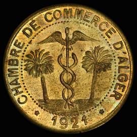 PCGS SP64 1921 ALGERIA Chambre de Commerce Pattern 10 centimes