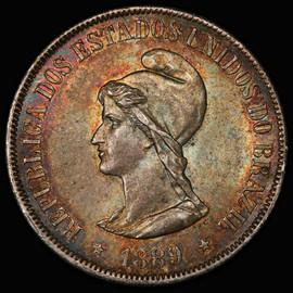 PCGS MS63 1889 BRAZIL Republic Silver 500 Reis - Amazing toning