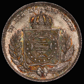 PCGS MS66 1864 BRAZIL Pedro II Silver 200 Reis, lone finest in PCGS toned!