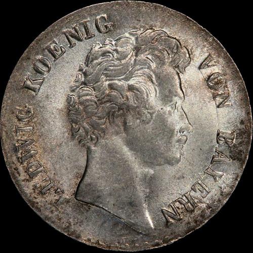 MS64 1828 Germany BAVARIA Ludwig I Silver 6 kreuzer, Highest Grade