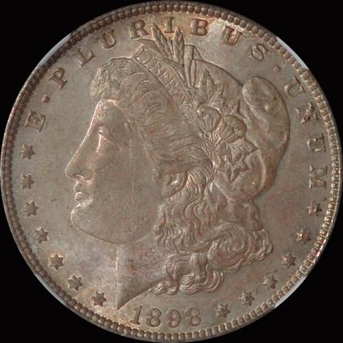 MS63 1898-P Morgan Silver Dollar  toned OBV and REV