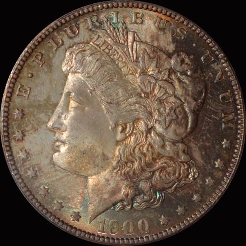 MS64 1900-O Morgan Silver Dollar Fantastic toning OBV and REV